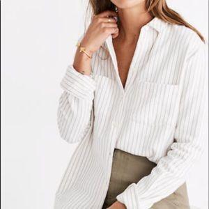 Madewell Sunday Flannel in grey stripe